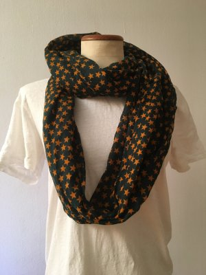 Tube Scarf forest green-ocher cotton