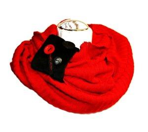 Loop Strick in Rot Zierteil aus Samt Schwarz