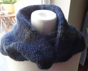 Snood dark blue-light grey mixture fibre