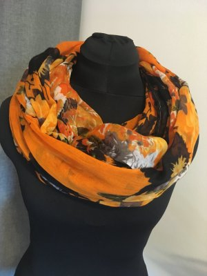 Loopschal mit Blumenmuster orange