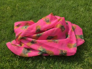 Loopschal pink mit Ananas