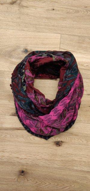 Loopschal, pink olivgrün, Baumwolle, Paisley Muster, Esprit