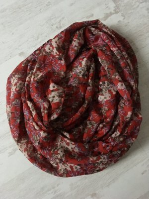 Loopschal rot Blumen Schlauchschal