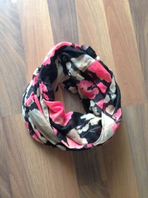 Loopschal schwarz/pink/beige