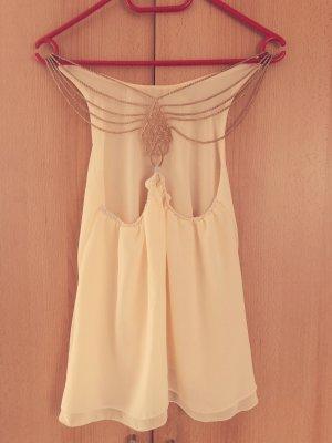 Top schiena coperta beige chiaro-crema
