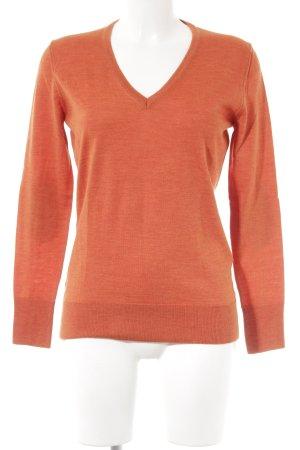 Looxent V-Ausschnitt-Pullover dunkelorange-dunkelgrau Casual-Look