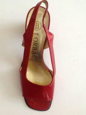 Lorbac Sandalias de tacón de tiras rojo ladrillo Cuero