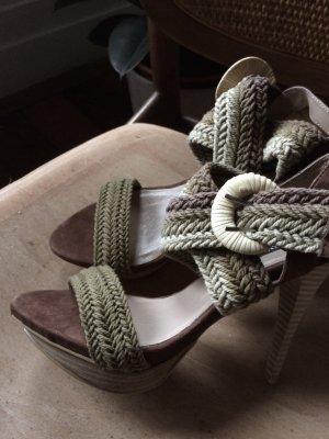 Sandalo con tacco alto multicolore Tessuto misto