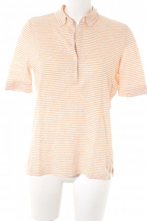 Loro Piana Polo-Shirt wollweiß-hellorange Streifenmuster Casual-Look