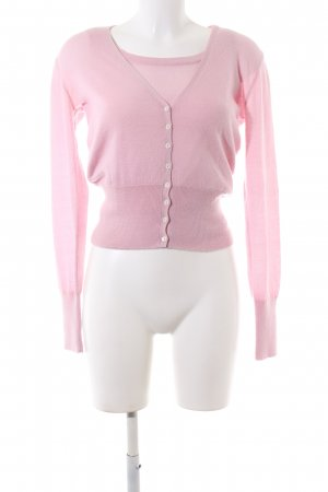 Loro Piana Knitted Twin Set pink casual look