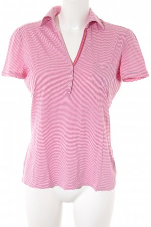 Loro Piana T-Shirt weiß-magenta Streifenmuster Casual-Look