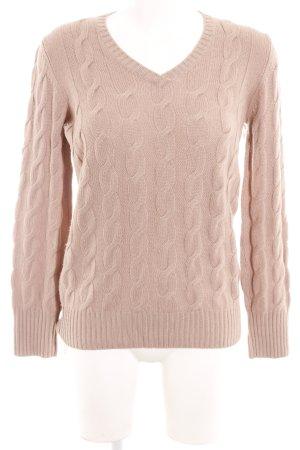 Loro Piana V-Ausschnitt-Pullover blasslila Zopfmuster Casual-Look