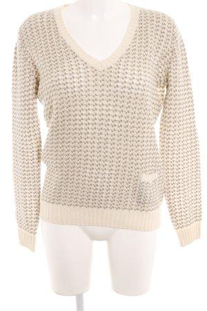 Loro Piana V-Ausschnitt-Pullover creme-graubraun Lochstrickmuster Casual-Look