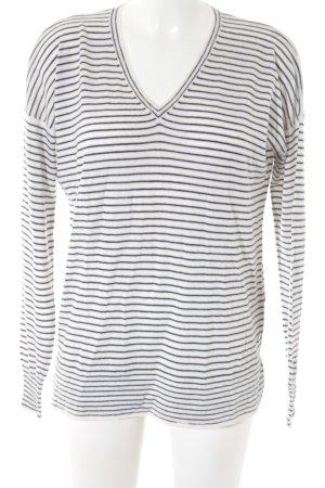 Loro Piana V-Ausschnitt-Pullover weiß-dunkelblau Streifenmuster Casual-Look