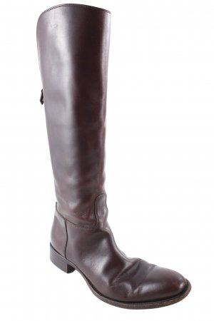 Loro Piana Wide Calf Boots dark brown casual look