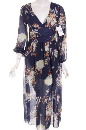 Loshow Kleid blau-gelb abstraktes Muster Street-Fashion-Look