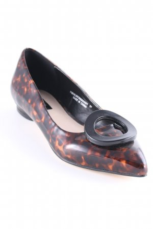 Lost Ink Patent Leather Ballerinas black-brown leopard pattern casual look