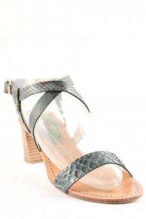Lottusse Strapped High-Heeled Sandals forest green reptile print