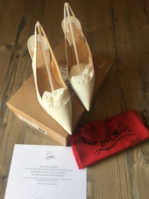 Christian Louboutin Slingback Pumps white-natural white leather