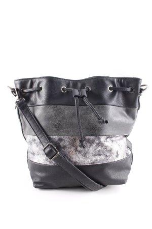 Loubs Beuteltasche schwarz-grau Streifenmuster Metallic-Optik