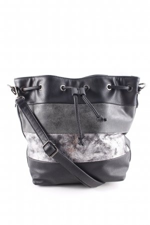 Loubs Sac seau noir-gris motif rayé Aspect métallique