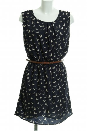 Louche Shirt Dress dark blue-cream animal pattern business style
