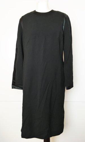 * LOUIS FÈRAUD * Midi Kleid schwarz WOLLE  & SEIDE LANGARM gefüttert warm ! Gr D 44