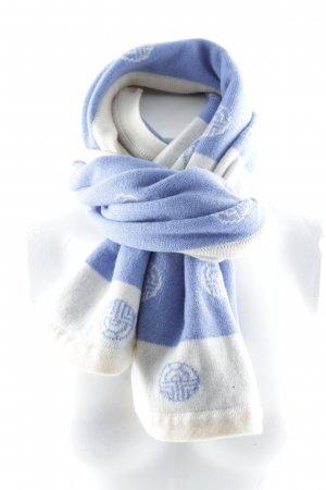 Louis Feraud Knitted Scarf natural white-cornflower blue abstract pattern