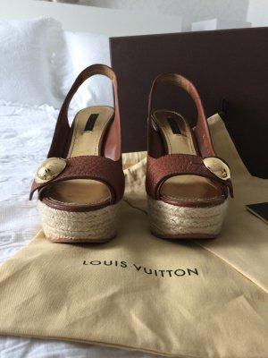 Louis Vuitton Sandales à plateforme brun-doré