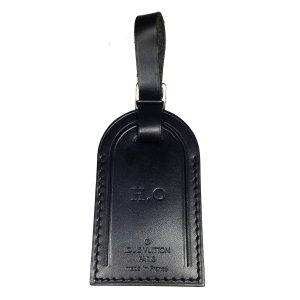 Louis Vuitton Adressanhänger Leder Farbe Schwarz Silber