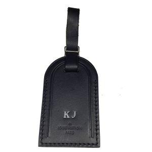 Louis Vuitton Adressanhänger Rindsleder Schwarz mit Initialen