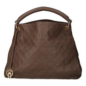 Louis Vuitton Sac à main brun foncé-doré cuir