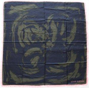 Louis Vuitton Foulard en soie vert foncé-rose soie