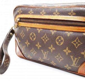 Louis Vuitton Bolso de mano marrón-marrón arena Cuero
