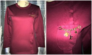 Louis Vuitton Baumwolle Top,Bluse,Shirt + Brosche Rot/Burgund Gr.36/38