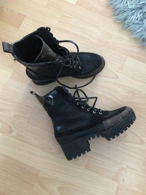Louis Vuitton Plateauzool Laarzen zwart bruin
