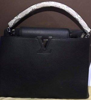 Louis Vuitton Capucines MM Black Leather & Snakeskin Satchel