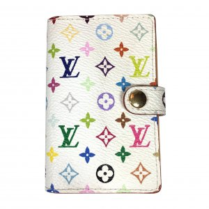 Louis Vuitton Carnet de Bal Mini Agenda aus Mini Monogram Multicolore Canvas in Weiss Kartenetui