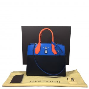 Louis Vuitton City Steamer MM Leder Schwarz Blau Orange Handtasche Tasche