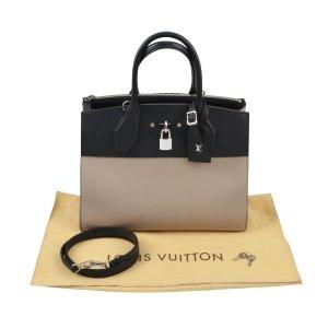 Louis Vuitton Bolsa de hombro negro-beige Cuero