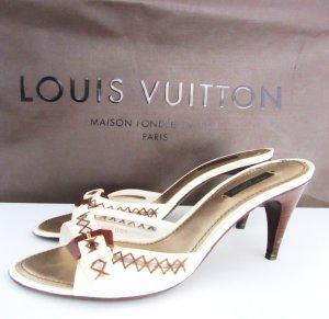 Louis Vuitton Creme Leather Lalibela Pumps Mules Open Toe