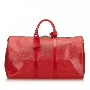 Louis Vuitton Weekendtas rood Leer