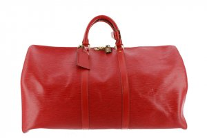 Louis Vuitton Sac de voyage rouge cuir