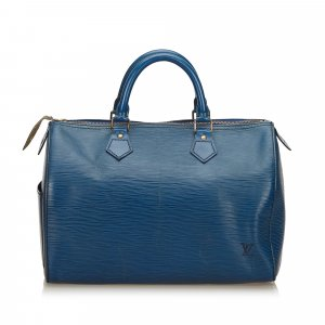 Louis Vuitton Sac à main bleu cuir