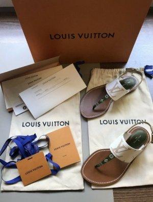Louis Vuitton Sandalias de tacón con talón descubierto blanco puro-marrón