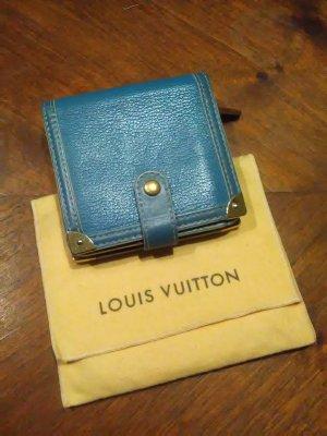 Louis Vuitton Portemonnee neon blauw-goud Leer