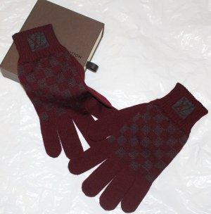 LOUIS VUITTON Handschuhe dunkle Beere Damier Gr. 7-8
