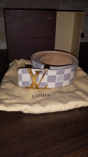 f7d420f50b9aa Louis Vuitton Canvas Belt white-pale blue leather