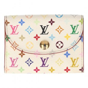 Louis Vuitton Kartenetui Enveloppe Cartes de Visite aus Mini Monogram Multicolore Canvas in Weiss