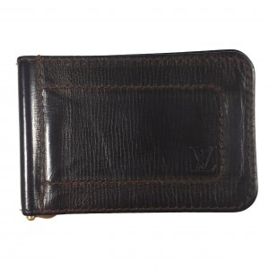 Louis Vuitton Card Case dark brown-bronze-colored leather